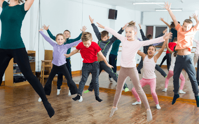 A Medau children's exercise class.